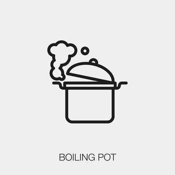 boiling pot icon vector. Linear style sign for mobile concept and web design. boiling pot symbol illustration. Pixel vector graphics - Vector.