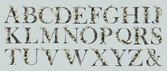 Beautiful alphabet with watercolor and graphic gold gradient branches and white flowers on a gray contrasting background for design in printing.