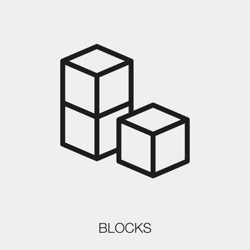 block icon vector. Linear style sign for mobile concept and web design. block symbol illustration. Pixel vector graphics - Vector.