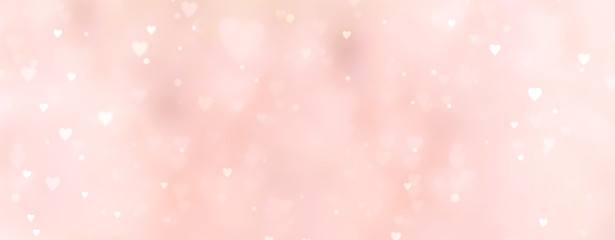 Fototapete - Abstract pink background with hearts - concept Mother's Day, Valentine's Day, Birthday - spring colors