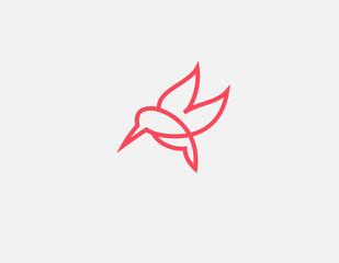 Creative abstract linear red hummingbird bird logo icon for your company