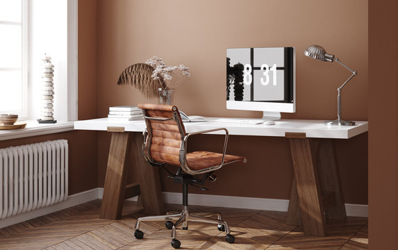 Home office, work from home,  3d render