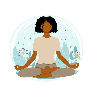 Young african american woman meditating sitting in lotus on the natural background. Concept illustration for yoga, meditation, relax and healthy lifestyle. Vector illustration in flat cartoon style.