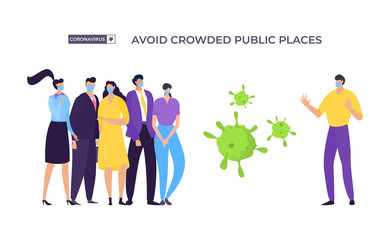 Avoid crowded place banner, coronavirus protection vector illustration. Masked man move away from group people to avoid infected with virus. Man and woman stand next to enlarged bacteria. Fotomurales