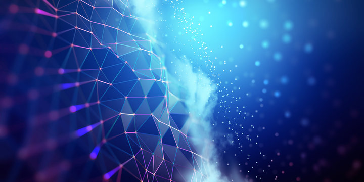 Big data and cybersecurity 3D illustration. Neural network and cloud technologies. Global database and artificial intelligence. Bright, colorful background with bokeh effect