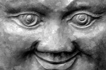 Foto op Plexiglas Historisch geb. Full Frame Shot Of Statue With Smiling Face