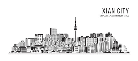 Cityscape Building Abstract Simple shape and modern style art Vector design - Xian city Fototapete