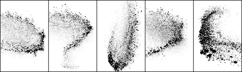 Set of explosion black grainy texture isolated on white background. Dust overlay textured. Dark noise particles. Grunge design elements. Vector illustration, Eps 10.
