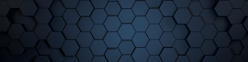 Wall Mural - hexagons blue, background texture, 3d illustration, 3d rendering
