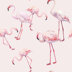 Tuinposter Flamingo Seamless pattern of watercolor pink flamingos