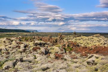 Eldhraun Scenic Lava Walk - moss covered lava field against blue sky, Vik, Sudurland, Iceland