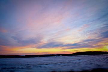 Foto auf AluDibond Lavendel Snow Covered Landscape Against Scenic Sky