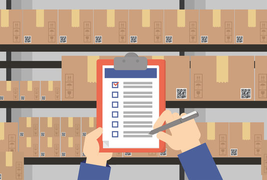 Vector illustration. Warehouse worker checking list of storage boxes.