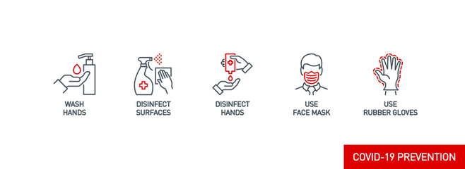 Wall Mural - Prevention line icons set isolated on white. outline symbols Coronavirus Covid 19 pandemic banner. Quality design elements mask, gloves, distance, wash disinfect hands, stay home with editable Stroke