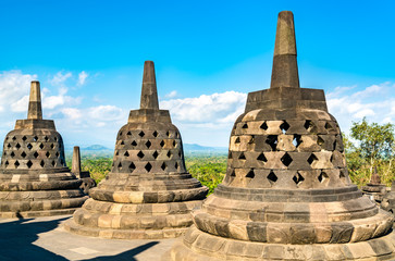 Wall Mural - Borobudur Temple in Central Java. UNESCO world heritage in Indonesia