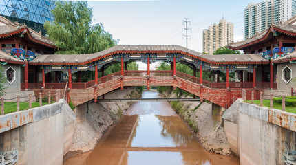 Traditional building in the Waterwheel Expo Park in Lanzhou (Gansu, China)