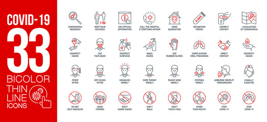 Wall Mural - Prevention and symptoms Coronavirus Covid 19 line icons set isolated on white. Perfect outline health medicine symbols pandemic banner. Quality design elements virus treatment with editable Stroke