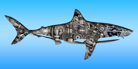 Ilustración con una figura que representa un tiburón que funciona con engranajes. Fototapete