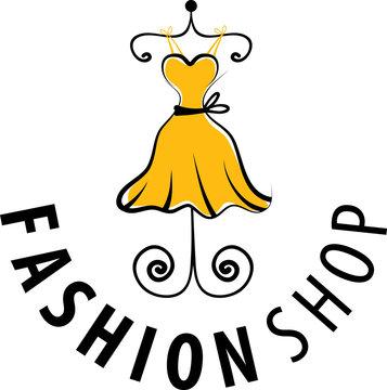 logo fashion shop, illustration, isolated, lady