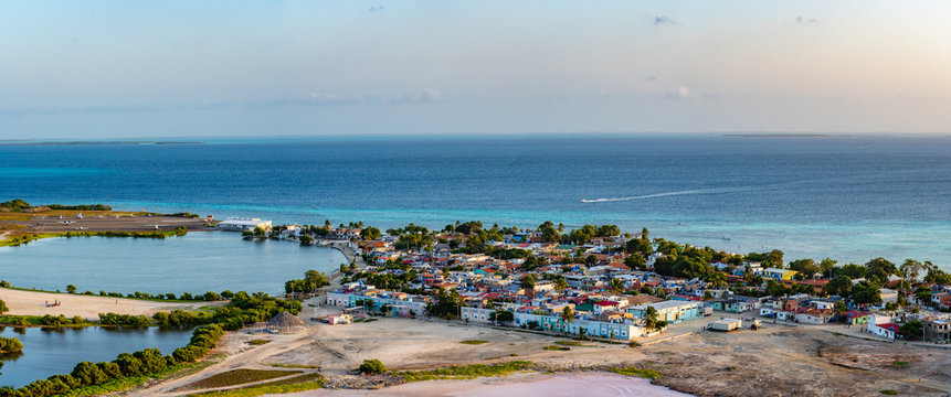 Panoramic high view of Los Roques town. Los Roques National Park, Venezuela. View from lighthouse.