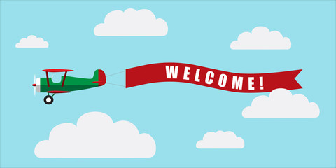 Vintage airplane with banner - Welcome