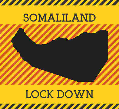 Somaliland Lock Down Sign. Yellow country pandemic danger icon. Vector illustration.
