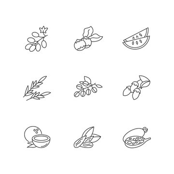 Hair oil ingredients pixel perfect linear icons set. Jojoba essence for haircare and nourishment. Customizable thin line contour symbols. Isolated vector outline illustrations. Editable stroke