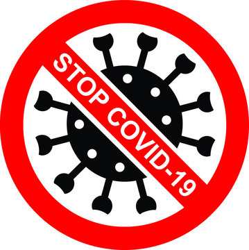 Stop the coronavirus Covid-19. Warning against the spread of the pandemic. Isolated sign on a transparent background, vector