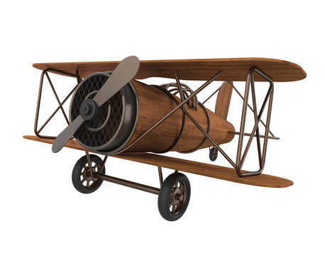 Wooden Airplane Toy Isolated