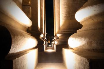 Footpath Amidst Illuminated Historic Building At Night Fotomurales