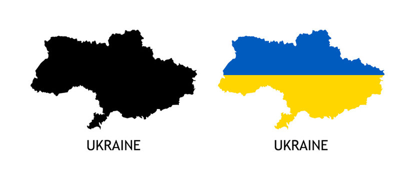 Silhouette of Ukraine black color and colored in National Flag - Vector illustrations isolated on white