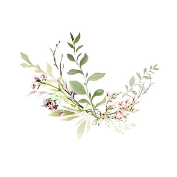 Hand drawing watercolor spring bouquet of wild flowers, branches and leaves. illustration isolated on white