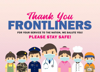 Thank you Frontliners who work for nation during coronavirus (covid-19) outbreak season. Cartoon doctor, nurse, police, military personnel, food servers, couriers & essential retailer flat design.