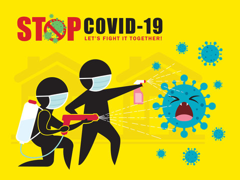 Stick figure man in medical face mask  spray cleaning & disinfecting coronavirus, Covid-19. Prevention controlling epidemic of coronavirus vector illustration. Disinfection services concept poster.