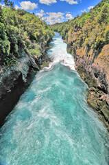 The Huka Falls  on the Waikato River  in New Zealand.
