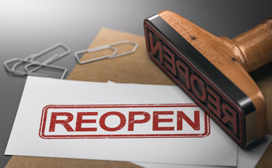 Reopen closed company or commerce. Communication concept.