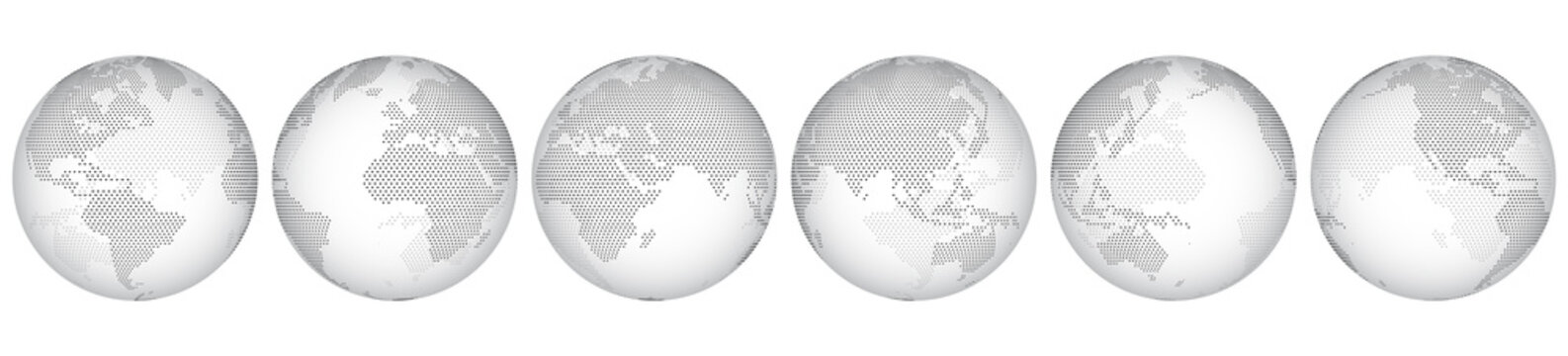 Set of six options for different locations of the globe, constructed from little hexagons. Isolated. Planet earth, abstract round map. Transparent sphere.
