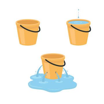 Empty, full, leaking bucket. Vector illustration isolated on white background.