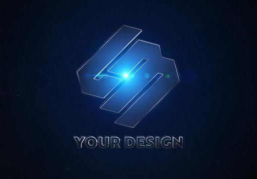 Blue Metal Logo in Space Mockup