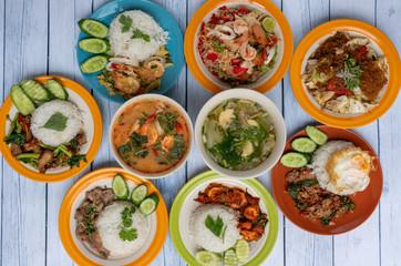 Spoed Foto op Canvas Klaar gerecht Thai Food Mixed Dishes