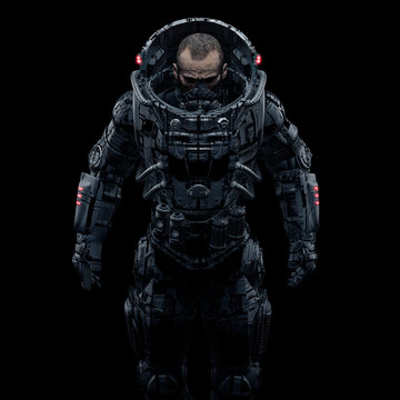Cyberpunk soldier portrait / 3D illustration of male science fiction heavily armoured military astronaut isolated on black background