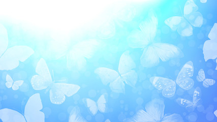 Beautiful gradient background with butterflies and highlights