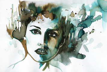 Illustration depicting a watercolor portrait of a staring woman.