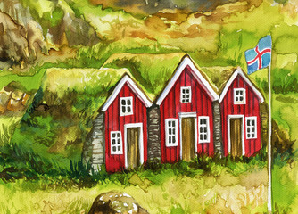 watercolor painting showing traditional Iceland construction