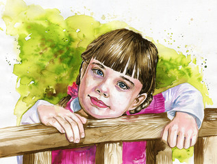 Foto op Canvas Schilderkunstige Inspiratie Illustration depicting a watercolor portrait of a staring gearl.