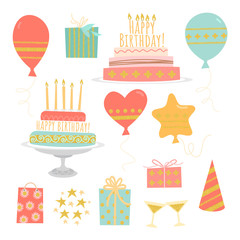 Set of vector birthday images isolated on a white background - cakes with candles, gifts and balloons