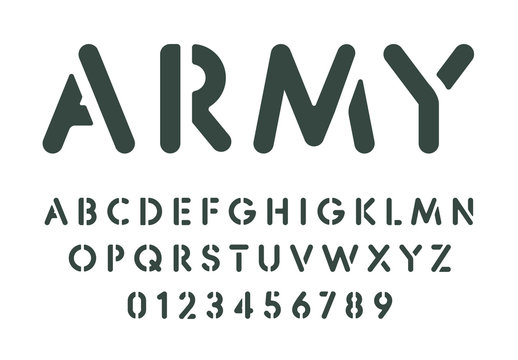 Stencil letters and numbers set. Spray paint stencil template, simple military style alphabet. Font for messages on wall, army or combat games. Vector typography design.