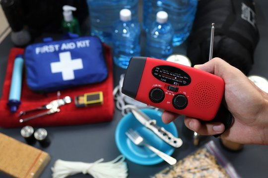 Disaster management includes preparing a disaster kit that can be contained in a go bag.These items should include a first aid kit,food,water,flashlight,radio,sleeping bag.Items that will help you.