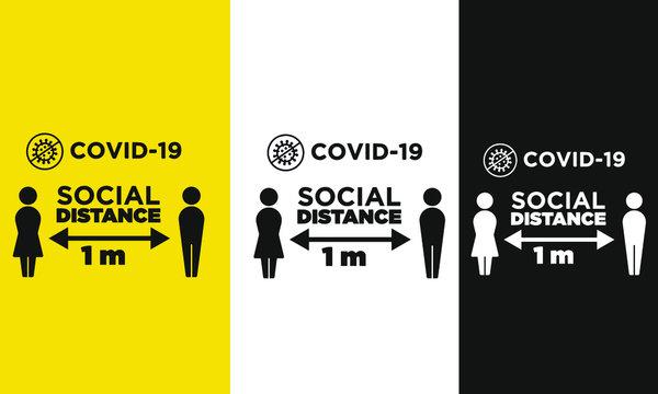 Social Distancing warning sign coronavirus vector design