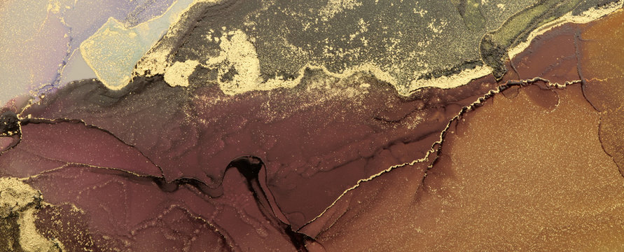 Abstract brown wave blots background. Alcohol ink colors. Marble texture.